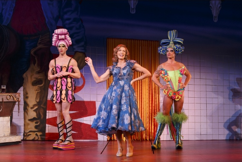 """Left to Right: Wade McCollum as Mitzi, Scott Willis as Bernadette and Bryan West as Felicia in the number """"I Love the Nightlife"""" © Joan Marcus"""