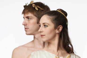"Gavin McNally and Amelia Larkin as Octavius Caesar and Octavia in Columbus Dance Theatre's ""Cleopatra"". Photo by Wes Kroninger."