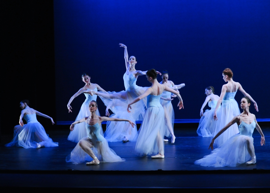 """Pittsburgh Ballet Theatre in George Balanchine's """"Serenade"""". Photo by Rich Sofranko."""