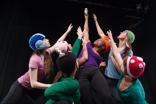 Dancers, from left to right: Sophia Levine, Laura Herbert, Jamie Campbell, LaMar Williams, Ella Mason, and Patty Petronello. Photo by Ben Peoples.
