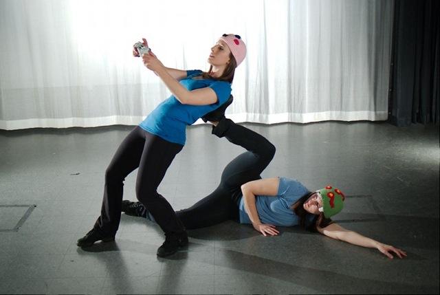 """Geeksdanz dancers Laura Herbert (left) and Ella Mason in """"Challenge Mode"""". Photo by Ben Peoples."""