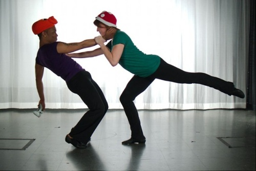 """Geeksdanz dancers LaMar Williams (left) and Patty Petronello  in """"Challenge Mode"""". Photo by Ben Peoples."""