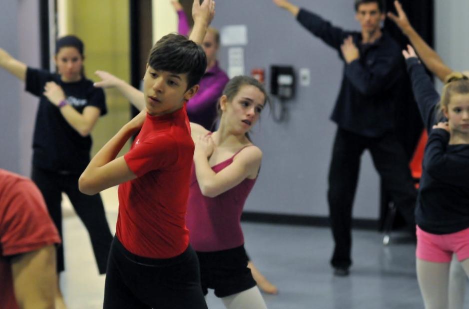 Student Ensemble working with choreographer David Shimotakahara. Photo courtesy of GroundWorks DanceTheater.