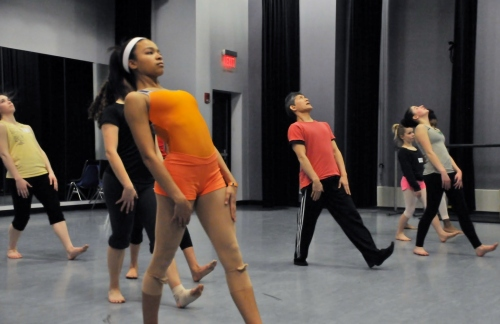 Student Ensemble working with choreographer David Shimotakahara. Photo courtesy of GroundWorks DanceTheater.