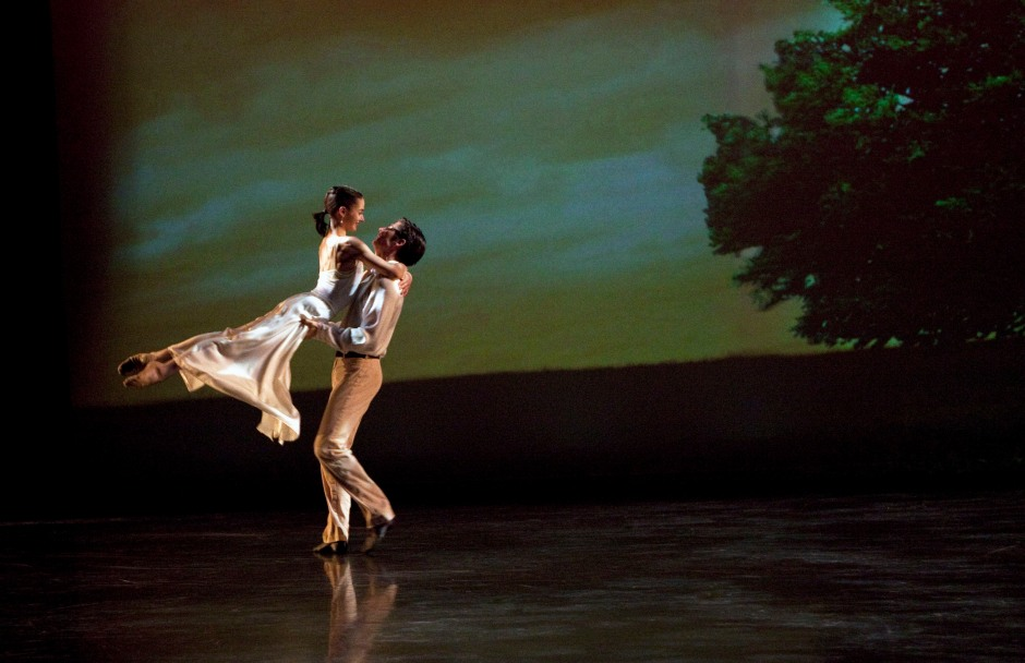 Grand Rapids Ballet's Rachael Riley (Juliet) and Stephen Sanford (Romeo) dance the balcony pas de deux in Mario Radacovsky's Romeo & Juliet. Photo by Terzes Photography.