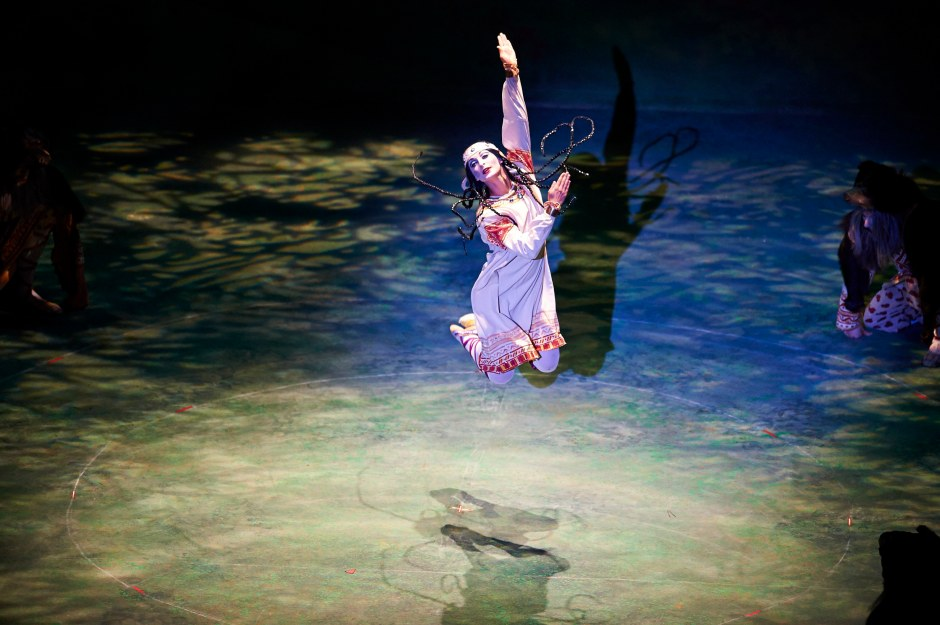 """Joanna Wozniak as """"The Chosen One"""" in Joffrey Ballet's """"The Rite of Spring"""".  Photo by Roger Mastroianni."""