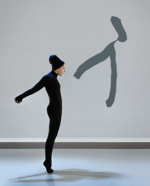 "Compagnie Marie Chouinard dancer Carol Prieur in ""Henri Michaux: Mouvements"". Photo by Marie Chouinard."