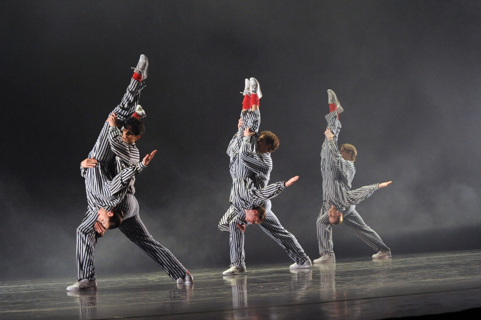 """PBT dancers in Twyla Tharp's """"In the Upper Room"""". Photo by Rich Sofranko."""