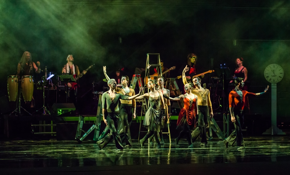 """Dancers of Verb Ballets and members of the musical group Shadowbox Live in """"The Masque: The Stories of Edgar Allan Poe,"""" which had its world premiere Friday night at the Breen Center for the Performing Arts in Cleveland. (Elisha Cerino)"""
