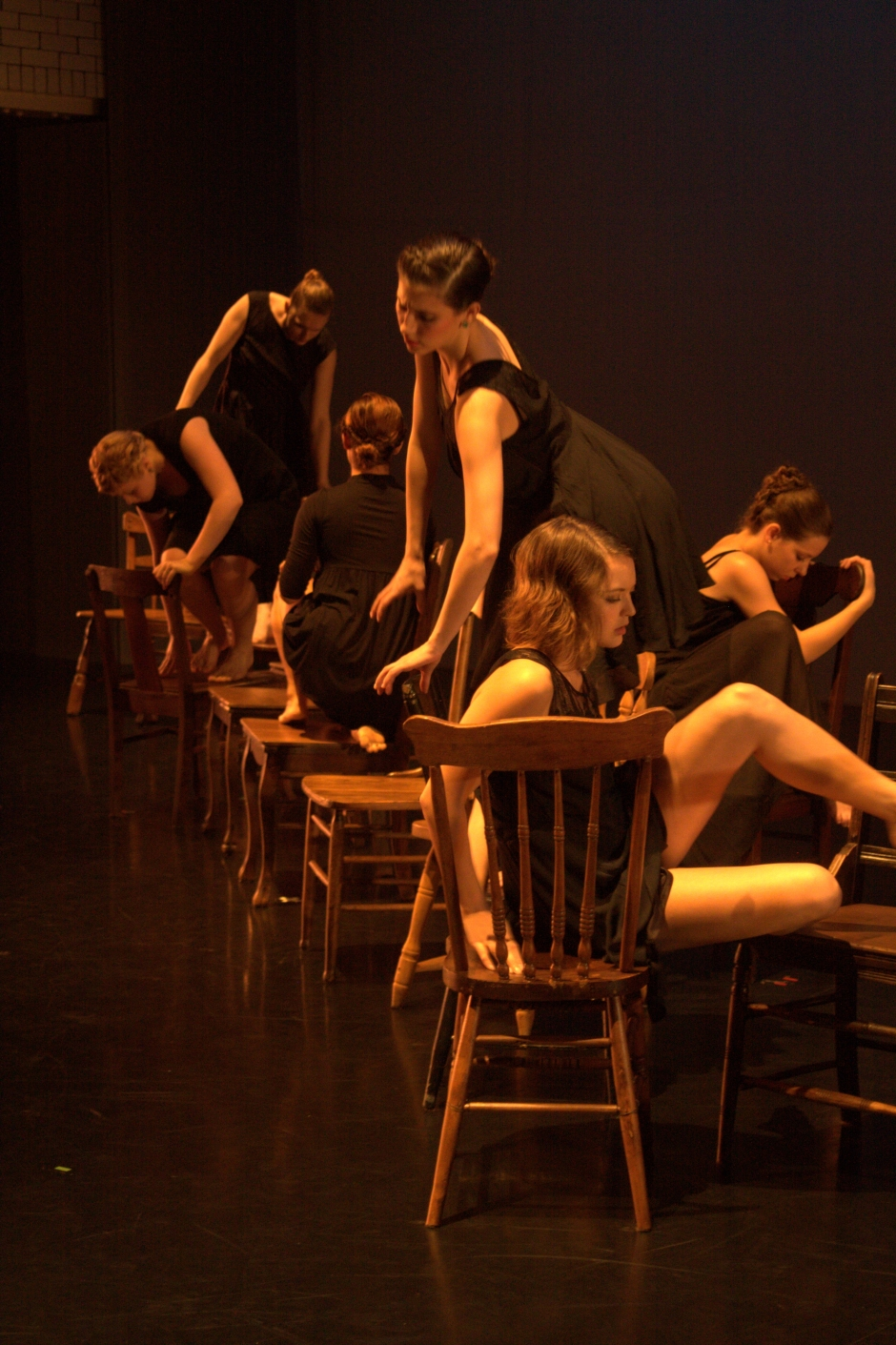 """Ensemble dancers in Shannon Sterne's """"Inundation"""".  From L to R: Christina Coppel, Kristy Clement, Andrea Alvarez, Emma Steele, Karlie Budge and Abbey Hafer. Photo by Brad Petot."""