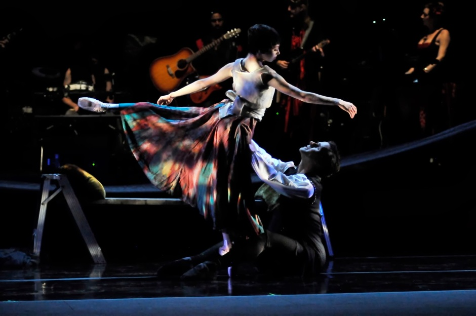"""Dancers of Verb Ballets and members of the musical group Shadowbox Live in """"The Masque: The Stories of Edgar Allan Poe,"""" which had its world premiere Friday night at the Breen Center for the Performing Arts in Cleveland. (Mark Horning)"""