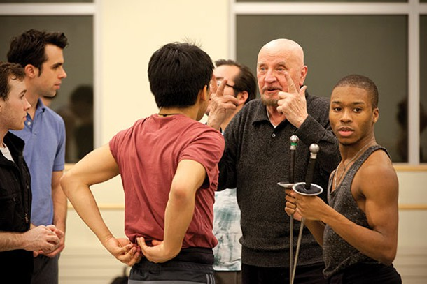 Nicolas Petrov (gesturing) instructs Point Park dance students. Photo by Heather Mull