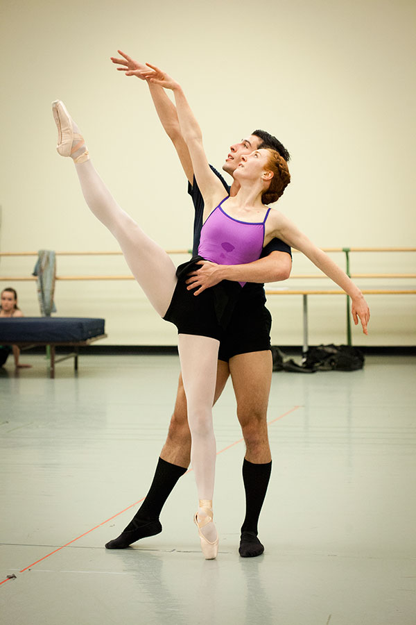 """Point Park dancers rehearse Petrov's """"Romeo and Juliet"""". Photo by Heather Mull."""