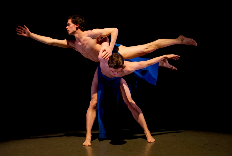 """John O'Neill and Alex Hathaway in Doug Benz's """"Arc of Descent/Gethsemane (2014)"""". Photo by Jeff Swensen."""