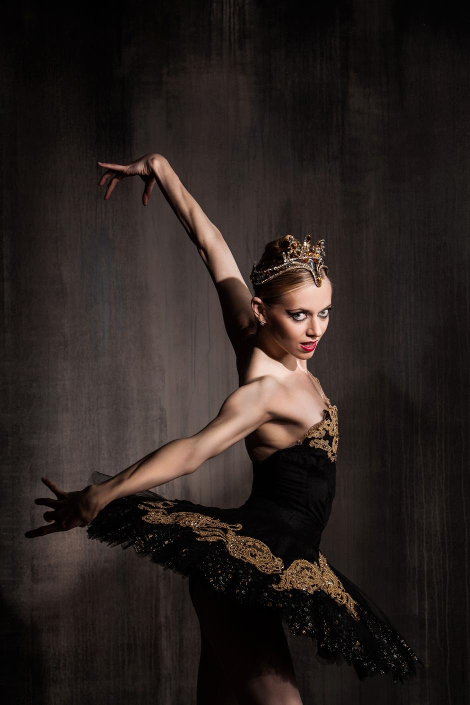 "Pittsburgh Ballet Theatre's Julia Erickson as the Black Swan in ""Swan Lake"". Photo by Duane Rieder."