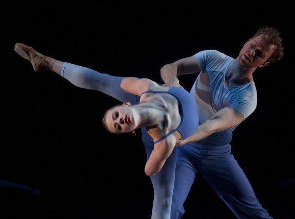 "Grand Rapids Ballet dancers Cassidy Isaacson and Nicholas Schultz in Pedro Lozano Gomez's ""Juana"".  Photo by Chris Clark."