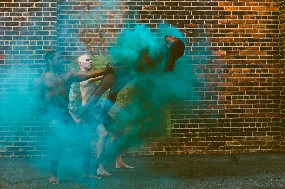 Inlet Dance Theatre's Joshua Brown, Taran Brown, and Dominic Moore-Dunson. Photo by Lauren Stonestreet.