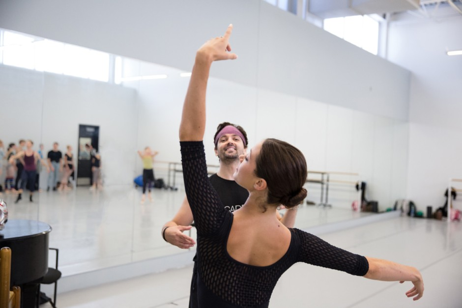New Pennsylvania Ballet Artistic Director Ángel Corella in class with Soloist Lillian Di Piazza.  Photo by Alexander Iziliaev.
