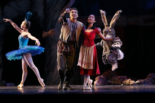 "Yuha Tomita as Misha and Angel Diaz as her father in Neglia Ballet Artists' ""Baba Yaga"". Photo by Don Neiman."