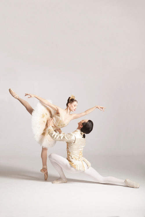 """Gabrielle Thurlow as Princess Aurora & Nurlan Abougaliev as Prince Desire in Pittsburgh Ballet Theatre's """"The Sleeping Beauty"""". Photo by Duane Rieder."""