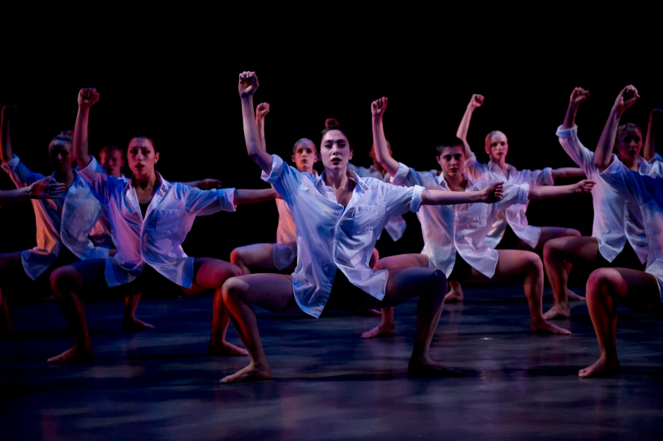 """Jenna Saccurato (center) and CDC dancers in Ronan Koresh's """"Standing in Tears""""."""