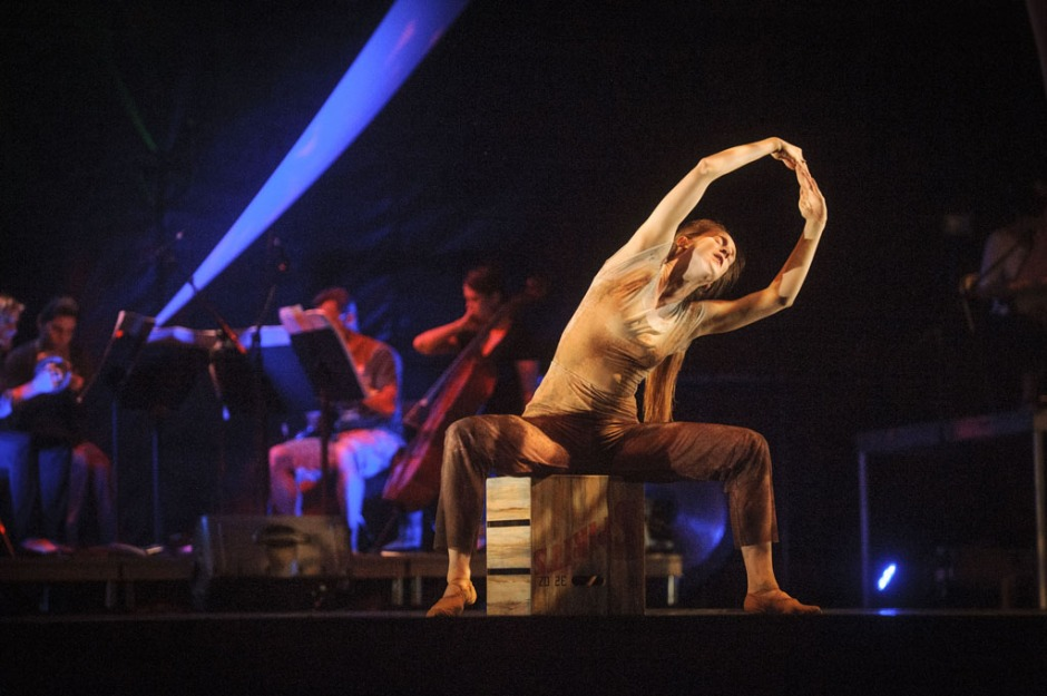 "GroundWorks DanceTheater dancer Annika Sheaff in David Shimotakahara's ""Ghost Opera"". Photo by Dale Dong."