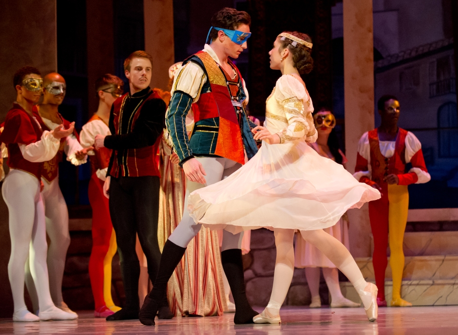 """Cassidy Burk and Hunter Mikles in Nicolas Petrov's """"Romeo and Juliet"""". Photo by Jeff Swensen."""