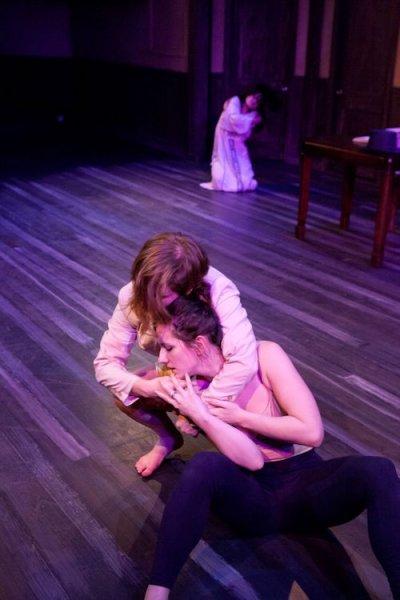"Elisa Marie Alaio, Jenna Rae Smith and Glenna Clark  in fireWALL Dance Theater's ""Uproar"".  Photo by Heather Mull."
