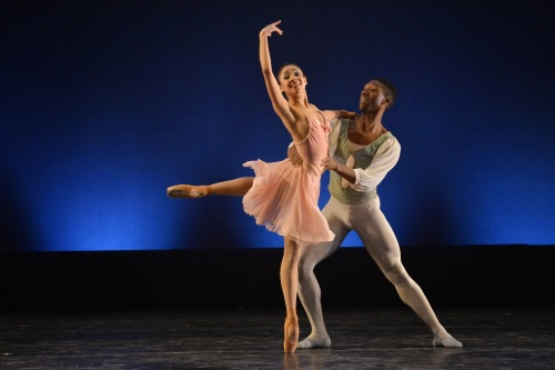 "Dance Theatre of Harlem's Da' Von Doane and Nayara Lopes  in Balanchine's ""Tchaikovsky Pas de Deux."" Photo by Mark Horning & Co."