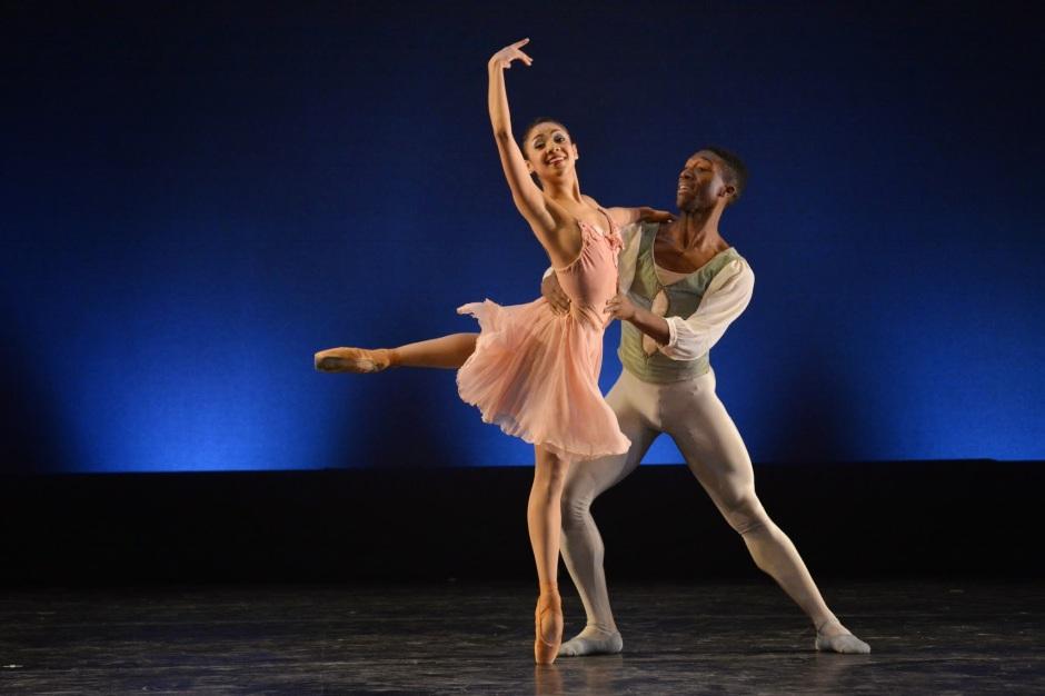 "Dance Theatre of Harlem's Da' Von Doane and Nayara Lopes  in Balanchine's ""Tchaikovsky Pas de Deux."" Photo by Mark Horning & Co."