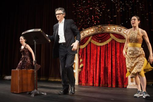 "Ira Glass, center, with Anna Bass, left, and Monica Bill Barnes in ""Three Acts, Two Dancers, One Radio Host."" Photo © & courtesy of Adrianne Mathiowetz."