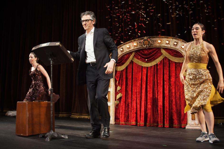 """Ira Glass, center, with Anna Bass, left, and Monica Bill Barnes in """"Three Acts, Two Dancers, One Radio Host."""" Photo © & courtesy of Adrianne Mathiowetz."""