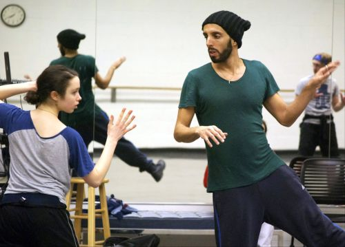 Choreographer Sagi Gross working with GRB dancer Connie Flachs. Photo courtesy of Grand Rapids Ballet.
