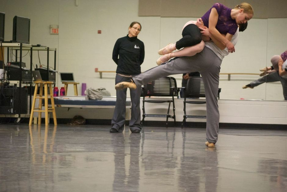 "Choreographer GIna Patterson working in-studio with GRB dancers in studio on ""To the River"". Photo courtesy of Grand Rapids Ballet."
