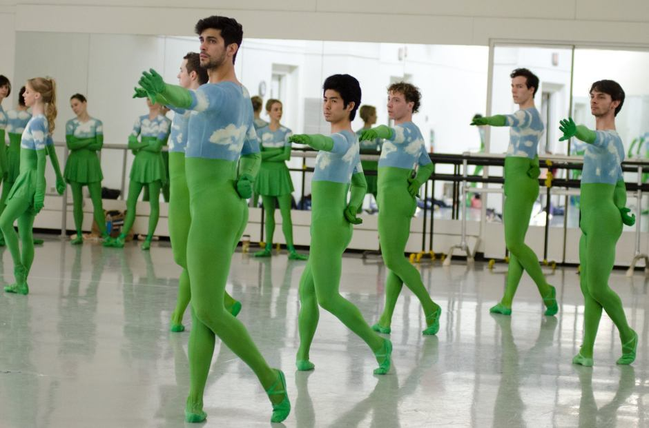 """Pittsburgh Ballet Theatre dancers in a rehearsal of Mark Morris' """"Sandpaper Ballet. Photo by  Aimee DiAndrea."""