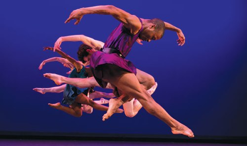 "Point Park dancers perform Mark Morris' ""Grand Duo."" Photo by Jeff Swensen."
