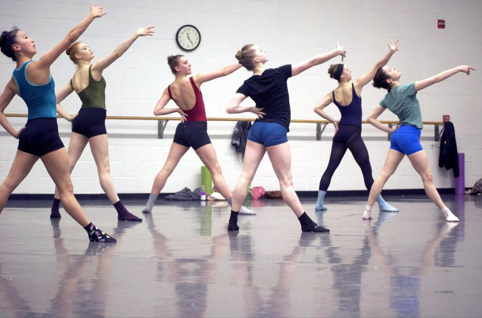 """Grand Rapids Ballet dancers rehearse Andrea Schermoly's """"Things You Can't Take Back."""""""