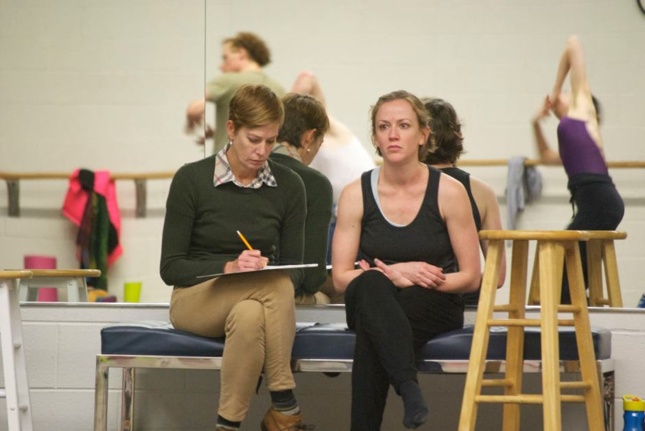 """Grand Rapids Ballet  artistic director Patricia Barker (left) along with choreographer Penny Saunders in a rehearsal of Saunders' """"base ∞."""""""