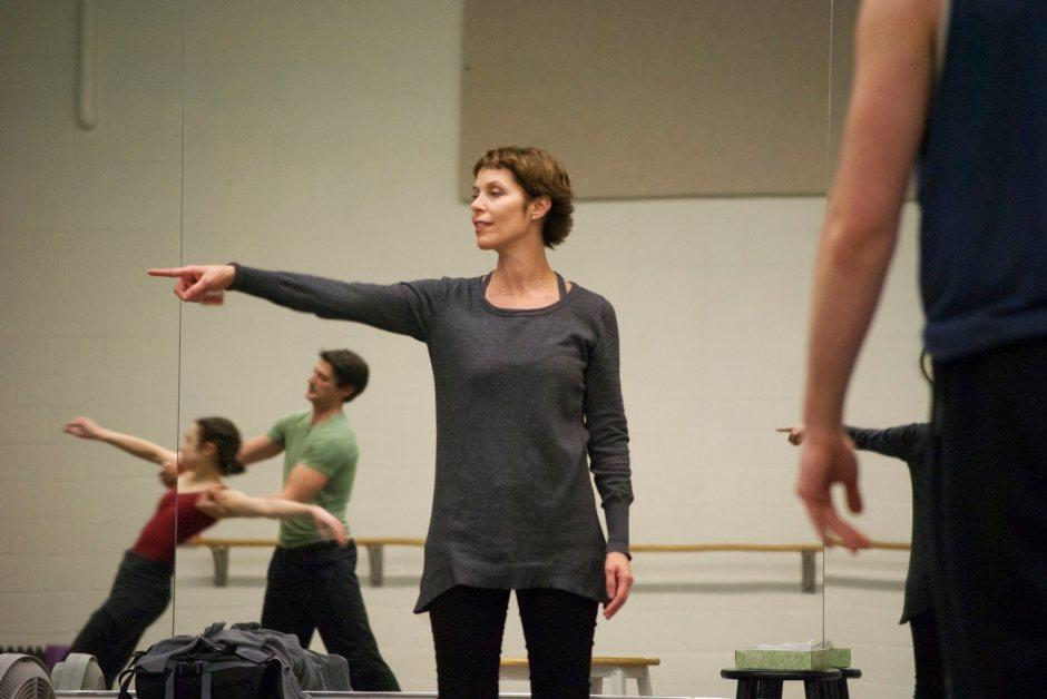 "Former American Ballet Theatre prima ballerina Susan Jaffe works with GRB dancers on her ballet ""Weather One."""