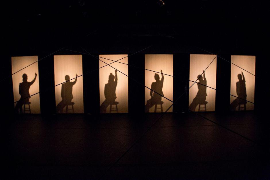 "L-R: Grace Cohen, Jenna Rae Smith, Elisa Marie Alaio, Cammi Nevarez, Sara Cohen, Glenna Clark in fireWall dance theater's ""Admission."" Photo by Duerring Photography."