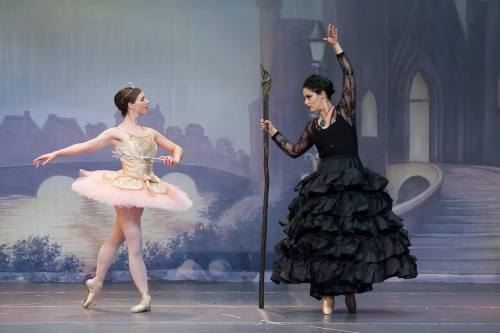 (L to R) Good Fairy Regina Pietraroia and Melaina Kampf as  Carabosse in Olmsted Performing Arts'