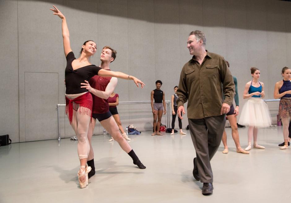 Bonnefoux rehearsing dancers Melissa Anduiza and David Morse (photo by Jeff Cravotta, courtesy Charlotte Ballet)