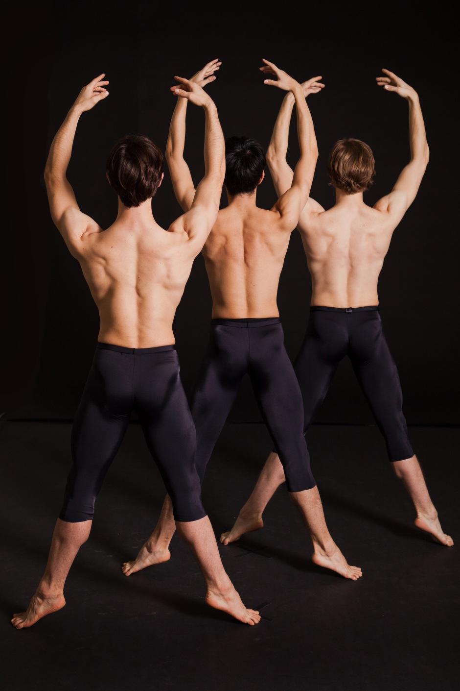 (l-r) Pittsburgh Ballet Theatre's Luca Sbrizzi and Yoshiaki Nakano and Twyla Tharp dancer Nick Coppula. Photo by Duane Rieder.