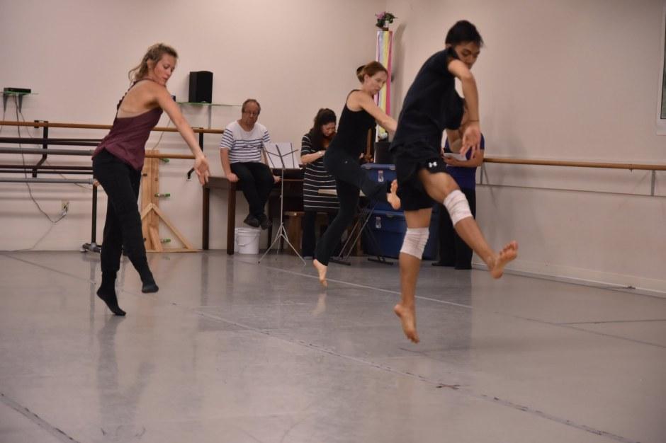 [Foreground] GroundWorks DanceTheater's Michael Marquez, Lauren Garson, and Annika Sheaff. [Background] Composer Oded Zehavi, Violinist Mirabai Weismehl Rosenfeld.