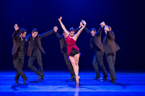 BalletMet's Olivia Clark (center) and dancers in James Kudelka's