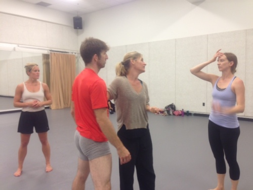 Choreographer Kate Weare (center) in rehearsal with GroundWorks DanceTheater dancers on