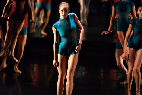 """CDT's Elena Keeny (center) in Jaime Kotrba's """"Isolation."""" Photo by John Ray."""