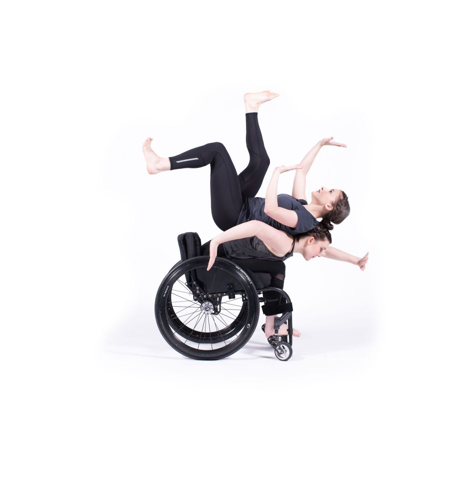 Meredith Aleigha Wells and Celina Speck of The Dancing Wheels Company in Od.yssey choreographed by Marc Brew. Photo credit Robert Howard.